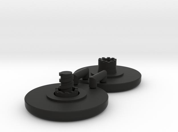 Large Standard Fidget Spinner Caps - Screw Type in Black Natural Versatile Plastic