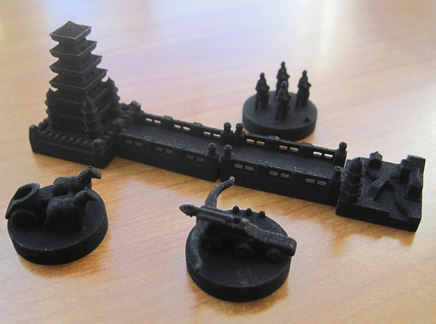 Catan Pieces Knights - Black 3d printed Base set of tokens and knights expansion tokens