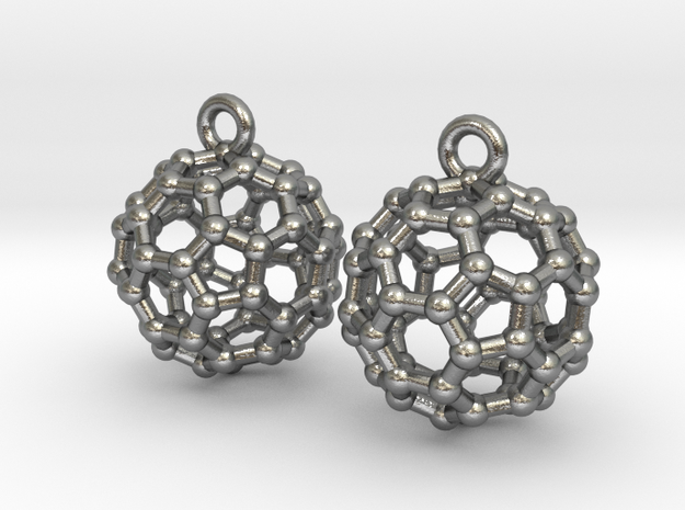 BuckyBall C60 Earrings 1 cm. 2 pieces. in Raw Silver