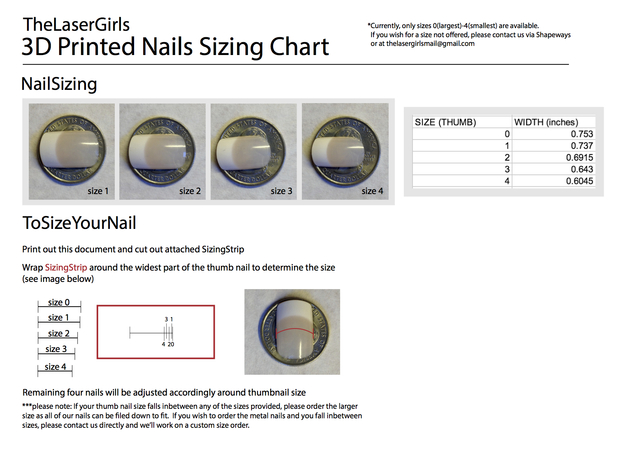 Cube Nails (Size 0)  3d printed http://bit.ly/TLGsizingchart