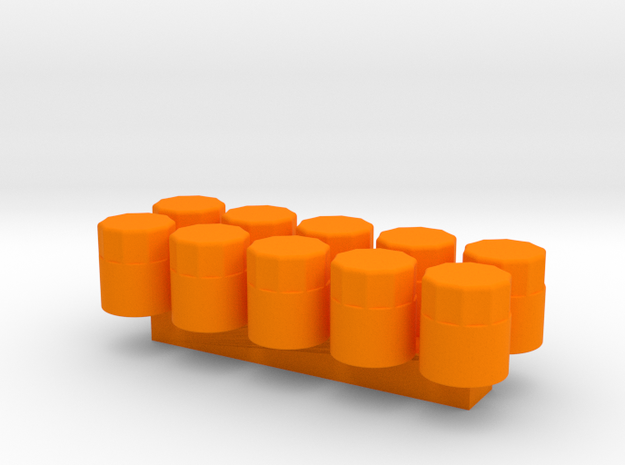 1/24 Scale Oil Filter (10 Pack) in Orange Processed Versatile Plastic