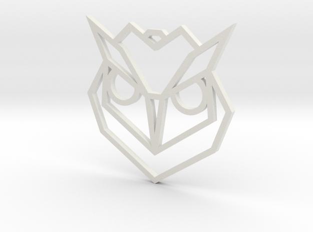 Geometric Owl Pendant in White Natural Versatile Plastic