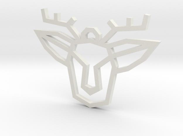Geometric Deer Pendant in White Natural Versatile Plastic