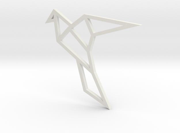 Geometric Bird Pendant in White Natural Versatile Plastic