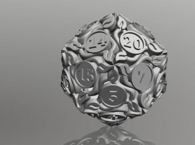 20-sided die with leaves 3d printed Solidworks screenshot.