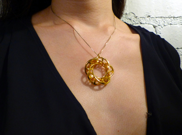 5,4 Torus Knot Ladder Pendant in 18k Gold Plated Brass