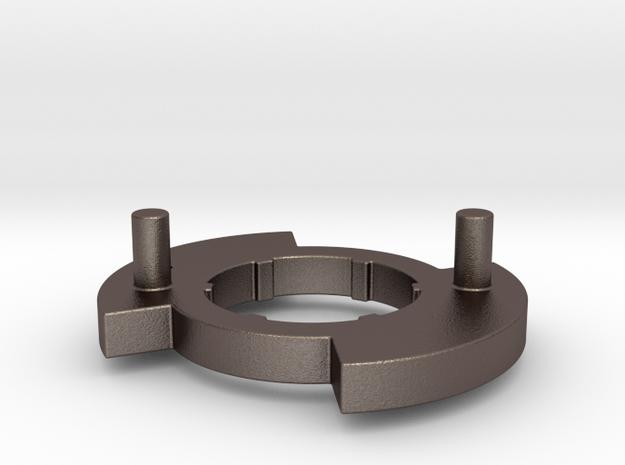 "Gen 3 Disk ""L""  Stainless Steel in Polished Bronzed Silver Steel"
