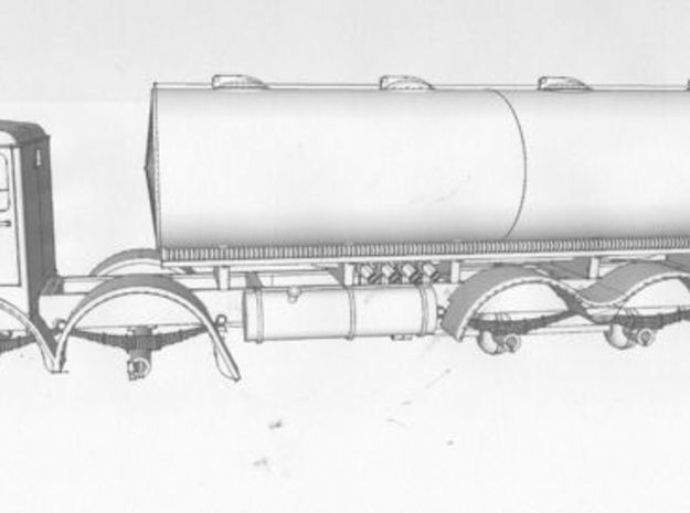 1:43 Foden  1948 FG Cab & 8 Wheel Chassis  3d printed Drawing with elliptical fuel tank body