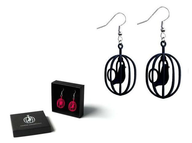Happy Bird earrings 3d printed Happy Bird earrings and gift box