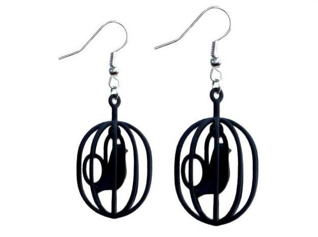 Happy Bird earrings 3d printed Happy Bird earrings