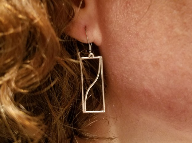 Tangent Function Earrings in Polished Silver