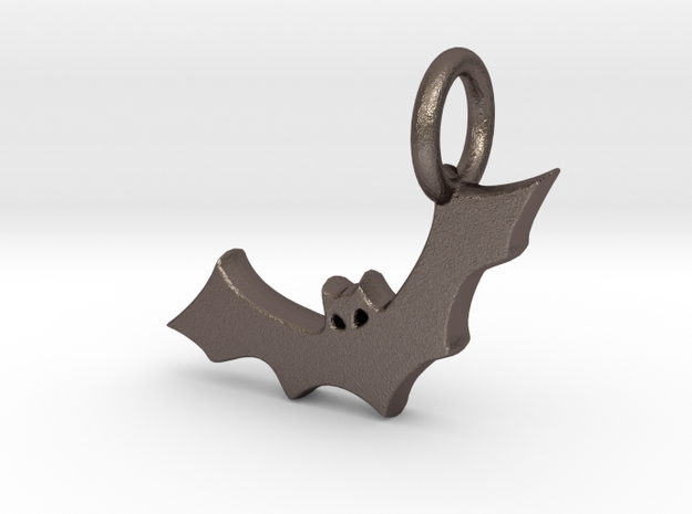 Bat Charm in Polished Bronzed Silver Steel