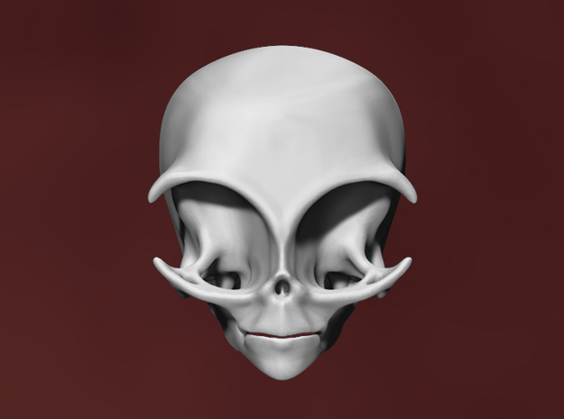 Grey Alien Skull in White Natural Versatile Plastic
