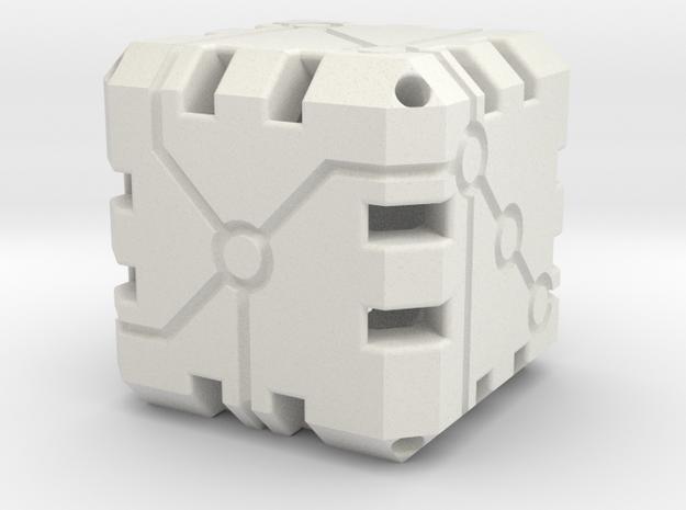 Vertex Dice 48mm Hollow in White Natural Versatile Plastic