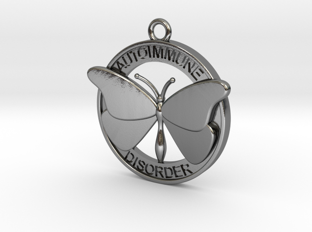 Autoimmune Butterfly 4cm in Polished Silver