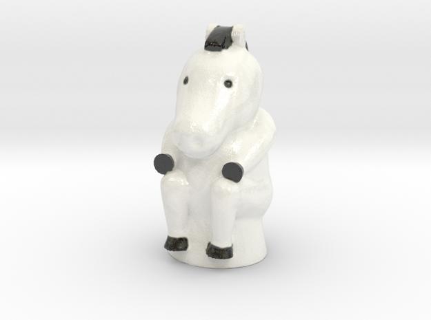 Zebra Game Token in Coated Full Color Sandstone