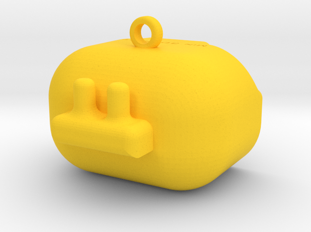 Robo-Keychain Min3DPrint in Yellow Processed Versatile Plastic
