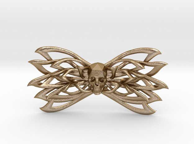 Bow tie Skull  in Polished Gold Steel