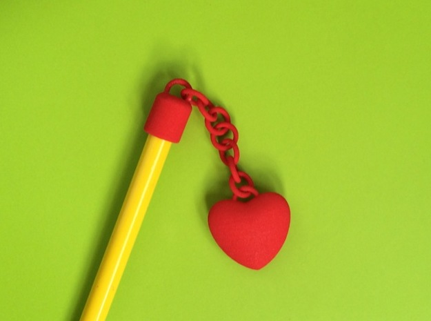 Heart pencil charm in Red Processed Versatile Plastic