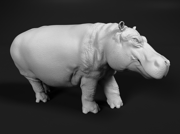 Hippopotamus 1:120 Walking Male in Smooth Fine Detail Plastic