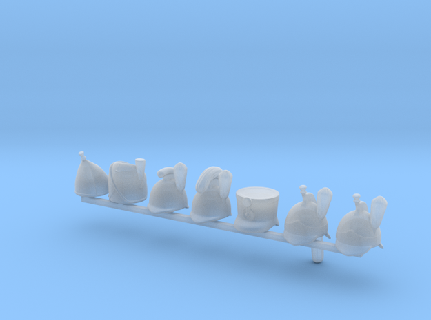 7 x Napoleonic Helmets in Smooth Fine Detail Plastic