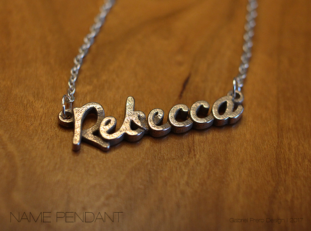 "Name Pendant - ""Rebecca"" in Polished Bronzed Silver Steel"