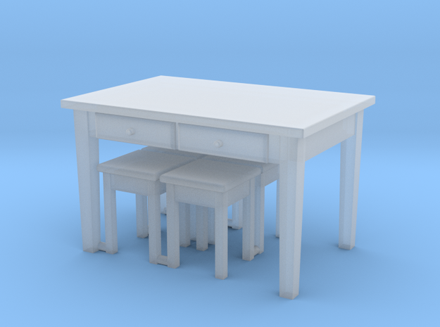 H0 Kitchen Table & 4 Stools- 1:87 in Smooth Fine Detail Plastic