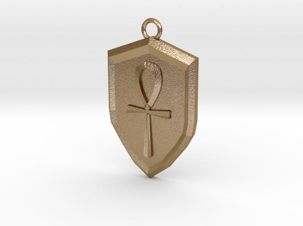 Order Shield Pendant in Polished Gold Steel