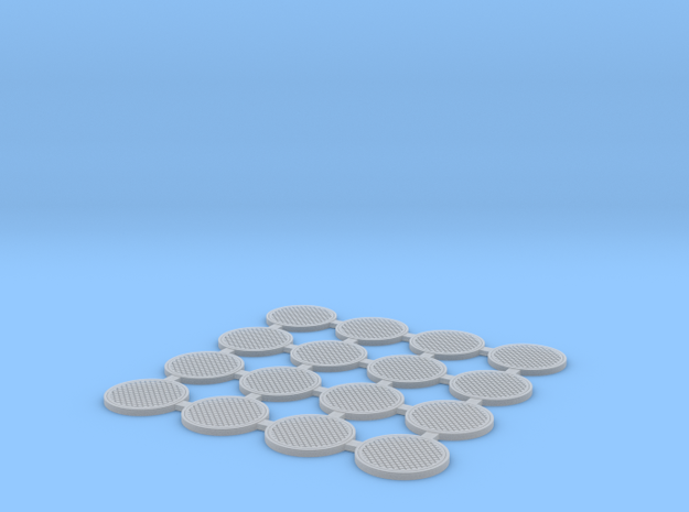 Manhole cover 01. HO Scale (1:87) in Smooth Fine Detail Plastic