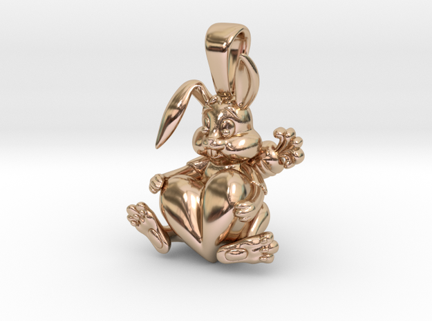 Bunny Pendant in 14k Rose Gold Plated Brass