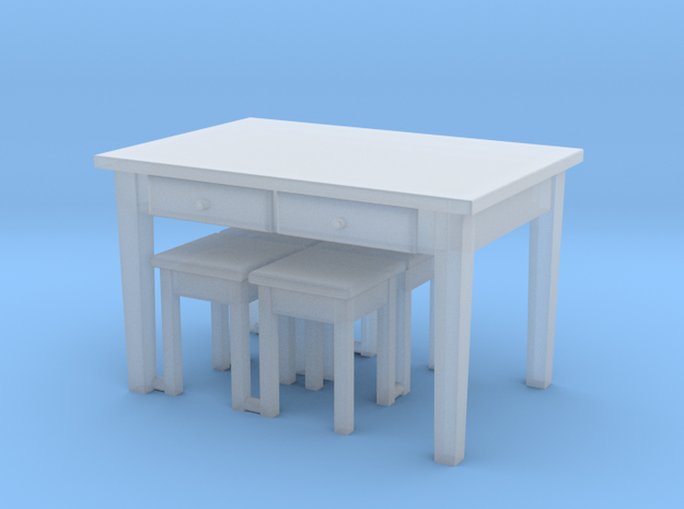 TT Kitchen Table & 4 Stools- 1:120 in Frosted Ultra Detail