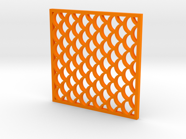 Costers with Fish Scale Pattern in Orange Strong & Flexible Polished