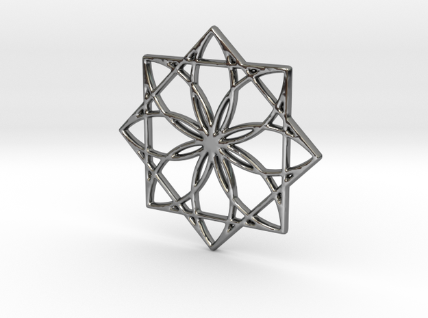 Modern Geometric Floral Pendant Charm in Fine Detail Polished Silver