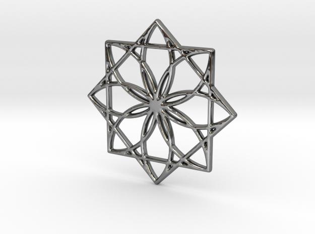 Modern Geometric Floral Pendant Charm in Premium Silver