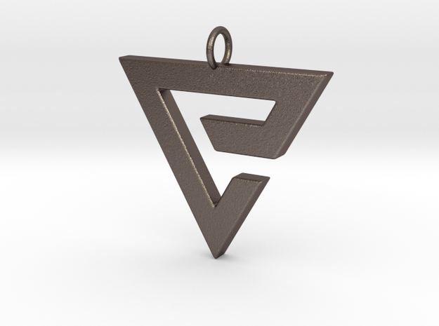 Quen Pendant in Polished Bronzed Silver Steel