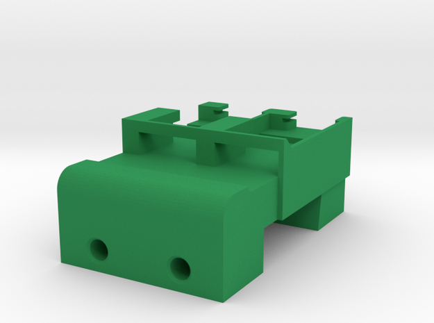 Neoden 2-Gang, 16mm feeder block in Green Strong & Flexible Polished