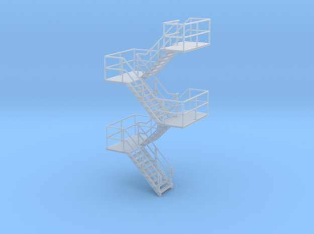 HO Staircase 75.9mm in Smooth Fine Detail Plastic