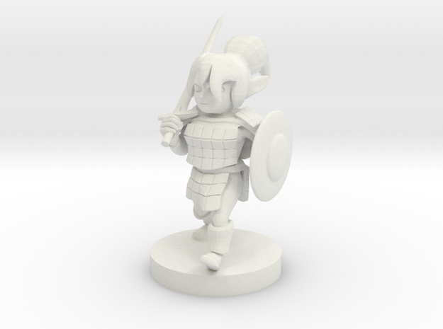 Gnome  Female Fighter in White Strong & Flexible