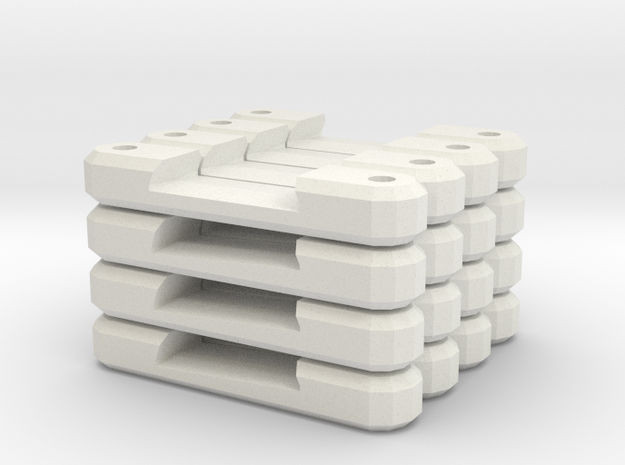 Combo Single Track Supports in White Natural Versatile Plastic