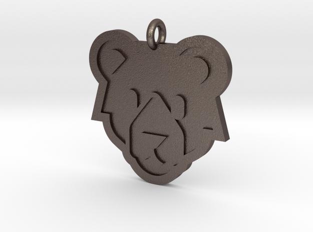 Bear Pendant in Polished Bronzed Silver Steel