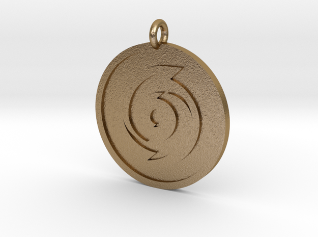 Cyclone Pendant in Polished Gold Steel