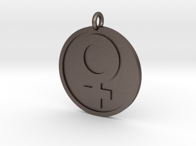 Female Pendant in Polished Bronzed Silver Steel