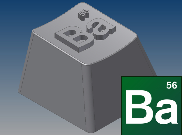 "Breaking Bad - ""Ba"" Keycap (R4, 1x1) in White Natural Versatile Plastic"
