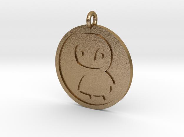 Penguin Pendant in Polished Gold Steel
