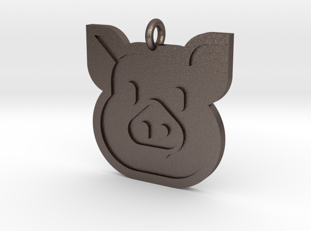 Pig Pendant in Polished Bronzed Silver Steel