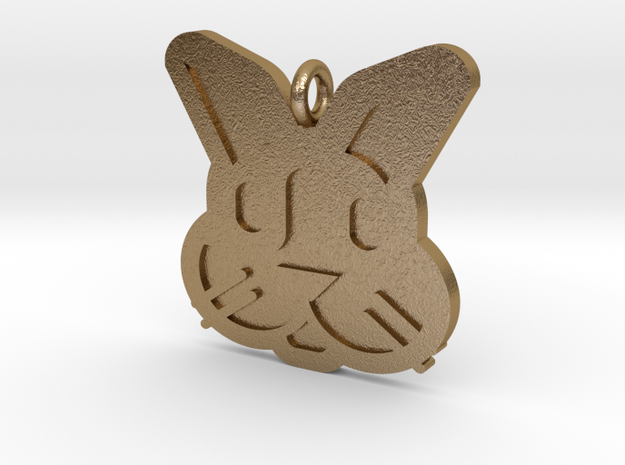 Rabbit Pendant in Polished Gold Steel