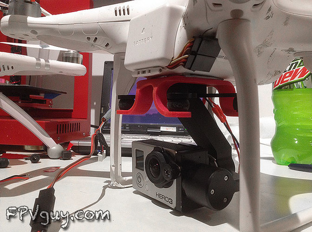 STELLA gimbal mount for Phantom quad 3d printed
