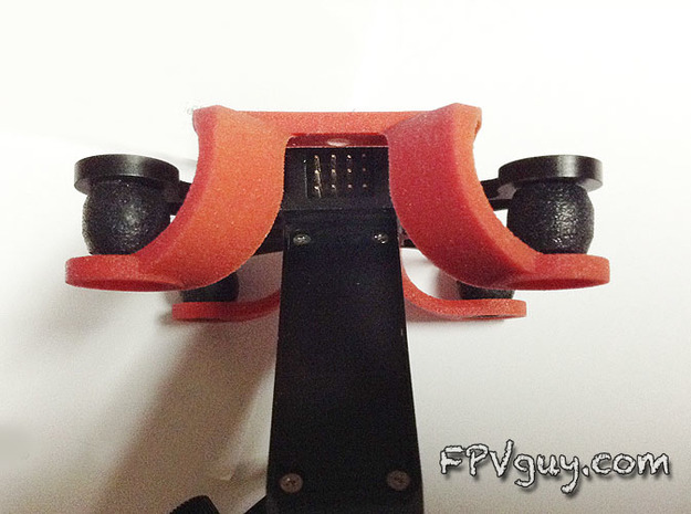 STELLA gimbal mount for Phantom quad 3d printed Backside view, easy access to the wire plugs