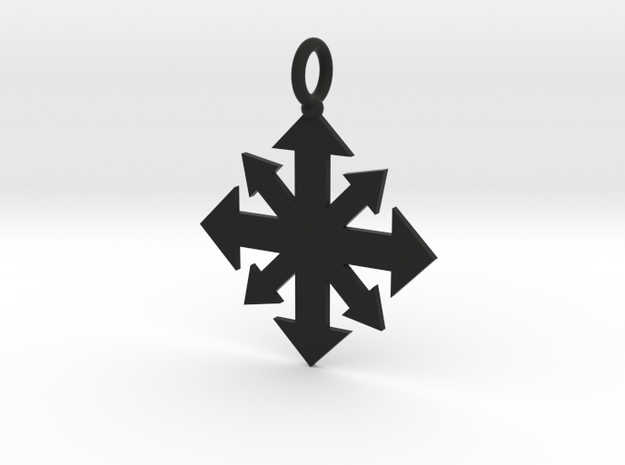 Simple Chaos star pendant  in Black Natural Versatile Plastic