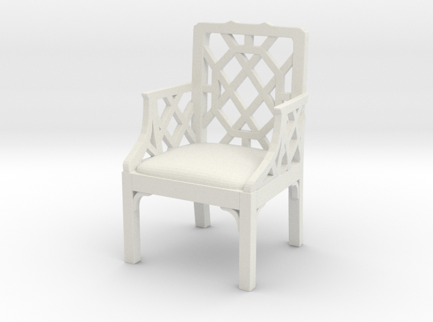 ArmChair 01. 1:12 Scale in White Natural Versatile Plastic